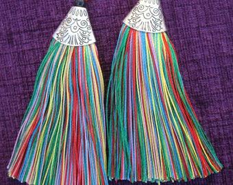 Funky Tassel Earrings - Festival Jewellery - Funky Jewellery - Fashionable Jewellery - 80s style earrings  -  Multiple Colours