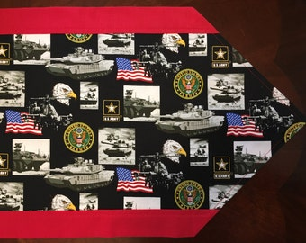 US Military Table Runner choice of Air Force, Army, Marines or Navy Gift, Veteran's Day