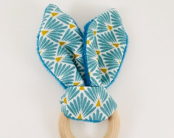 Rabbit print wooden teething ring rattle Flake blue green and mustard + teal minky