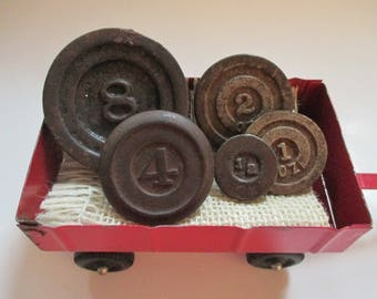 Vintage Salvaged Cast Iron Scale Weights - Industrial Decor - Small Circular Shape - Five in Lot
