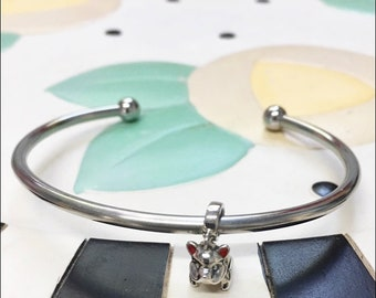 French Bulldog Sterling Silver Charm on a Steel Bracelet