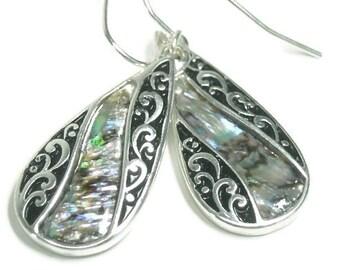 Abalone Teardrop Earrings, Dangle Earrings, Filigree Oval Drop Earrings with Abalone, Scroll, Shell Earrings, Beach, Ocean, Sea