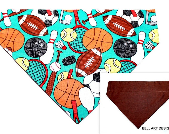 DOG BANDANA ~ Over the Collar ~ Reversible ~ Sports and Brown ~ Bell Art Designs ~ Large ~ DCL67