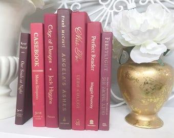 Red Decorative Book Set, Shelf Decor