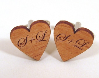 Personalized Heart Cuff Links - Engraved Wooden Cuff Links