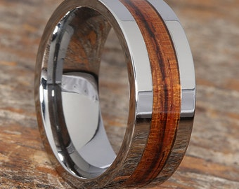 Mens Wood and Tungsten Wedding Band, Wood Tungsten Ring, Redwood Inlay Ring, Tungsten Wood Inlay Wedding Rings, Wooden Wedding Band