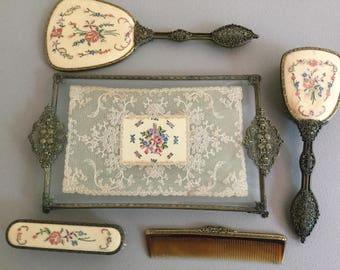Vintage 5 piece dresser set