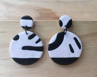 "Handmade statement dangle earrings // gifts for her // ""Monochrome Madness"""