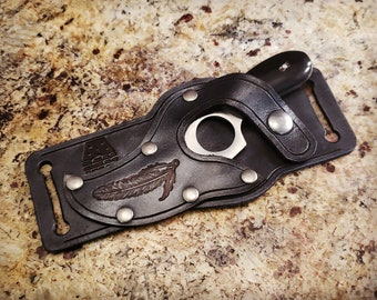 Short Skinner Knife & Sheath Combo - Knife and Sheath Combo - Concealed Carry - Scout Carry - hand tooled by American Made Upgrades