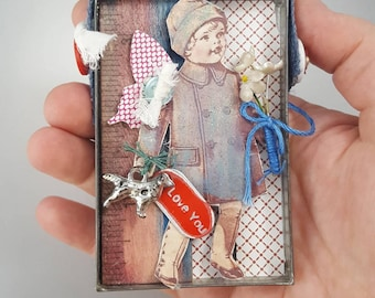 Assemblage collage vintage girl dog ruler primary colors red I love you gift