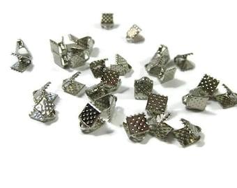 Rhodium Silver Toned Iron Ribbon Crimps 6 mm
