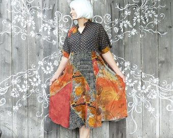 Upcycled Carole Little dress - recycled repurposed, rayon midi length dress, vintage Carole Little skirt, one of a kind, orange, mixed print