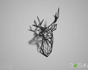Black 3D Printed Stag Deer Trophy Head Facing Right