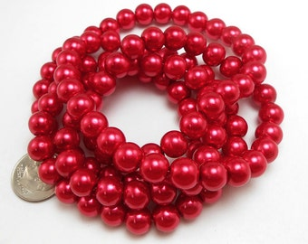 50 Red Glass Pearl Beads 8mm round (H2175)