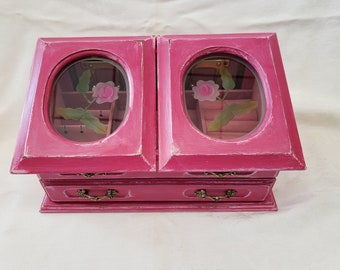 Hand Painted and Distressed Pink Jewelry Box with Pink Glass Flowers