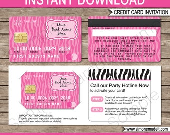 Mall Scavenger Hunt Invitation Template - Credit Card - Birthday Party - INSTANT DOWNLOAD with EDITABLE text - you personalize at home