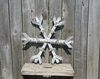 Rustic Snowflake Christmas Winter Sign, Wood Wall Art