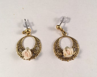 Vintage Gold Dangle Earrings with Pink Rose Buds, Post Earrings, 1 Inch Long 5/8 Inches Wide Previously 18 Dollars ON SALE