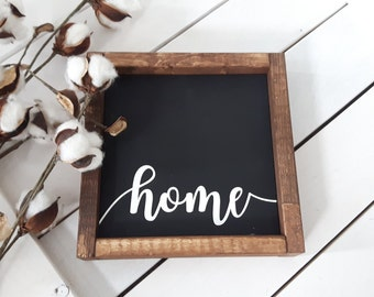 Home Sign | Mantle decor | Wooden Sign | Wood framed sign | Farmhouse style | Rustic Decor | Wood Sign | Living room sign | Gift under 30 |