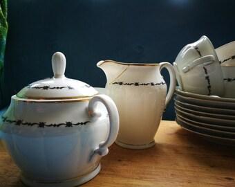 Thirties tea service, white with black geometric design