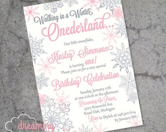 Winter Onederland Birthday Invitation with Silver Glitter Snowflakes