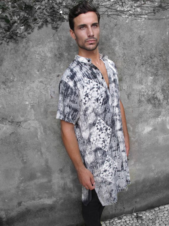 Clothing Button Clothing Tribal Up Shirt For Long Shirt Print Tribal Man Button Down Tribal Clothing Ethnic Boho Tunic Wear Top xFdvSIv