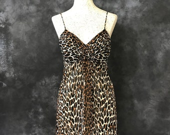 Vanity Fair leopard print babydoll nightie small Jungle Beauty