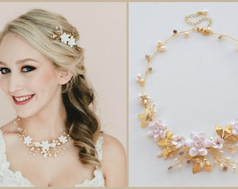 Gardenia and Brass Leaves Vine Necklace. White Floral Vine Necklace. Gold Gardenia and Leafy Branch Necklace. Bridal Necklace