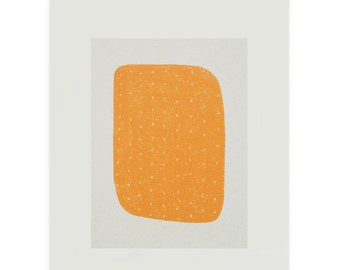 Silkcreen print, small, abstract, orange, original Mid Century handmade art, Emma Lawrenson