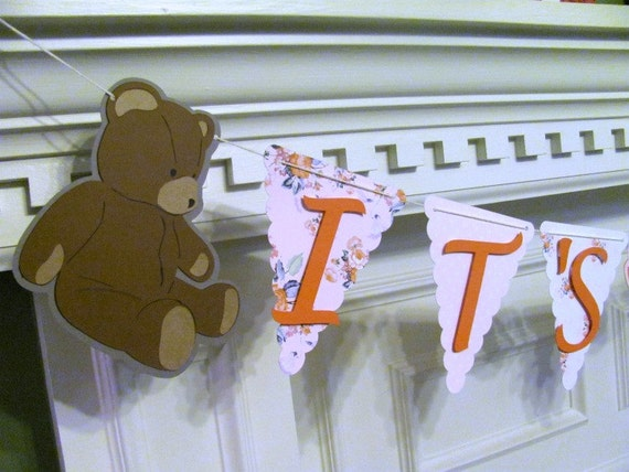 Baby Shower It's A Girl Banner in pink and coral with teddy bears