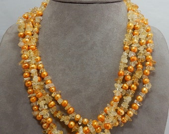 ROSS SIMONS Genuine Citrine Chip & Freshwater Pearl 4 Strand Necklace    PP14