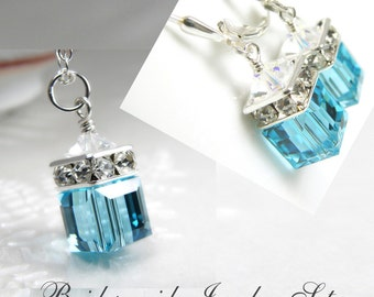 Light Teal Crystal Cube Jewelry Set, Swarovski Pendant Necklace and Earrings, Sterling Silver, Bridesmaid Gift, Spring Wedding, Handmade
