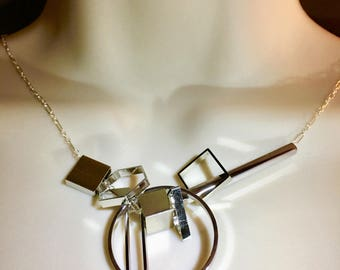 Asymmetrical Architectural Modern Steel and Silver Geometric Industrial Charm Necklace
