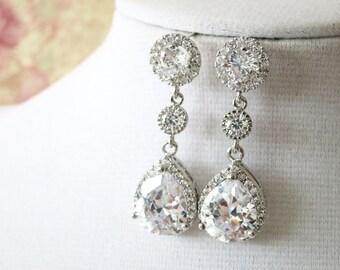 Cornelia - Luxe Cubic Zirconia earrings, Bridesmaids Gift, Bridal Bridesmaid Earrings, Silver Cubic Zirconia Halo style dangle Earrings