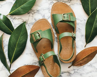 Greenery Summer Sandals, Leather Sandals, women's shoes, Boho Sandals, Strappy Sandals, Comfortable Sandals, Casual Sandals, Summer Sandals