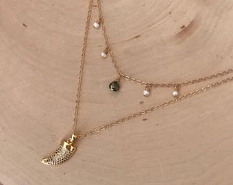 NEW! Double Strand Gold CZ Horn Necklace w/ Pearls and Pyrite