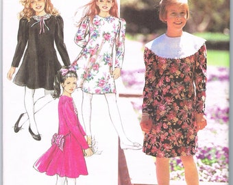 Girls Dress Pattern, Wide Rounded Collar, Small Collar, Flared Front, Dropped Gathered Waist in Back, Above Knee, Simplicity 7542, Size 7-10