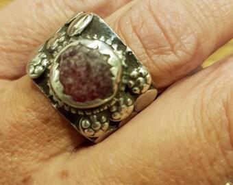 Vintage silver ring, glass ring, hindu ring