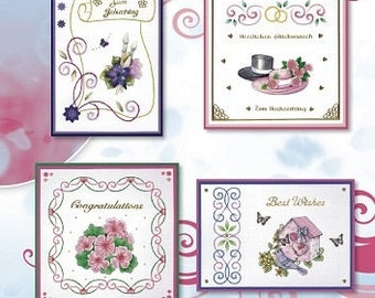 Book 8 cards designs 3D embroidery 24 sheets