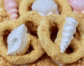 "Chocolate Pretzels With Chocolate SEASHELLS On A ""Sandy"" Beach Wedding Favor ~ Luau Party Favor  Bridal Shower Favor ~ Nautical Baby Shower"
