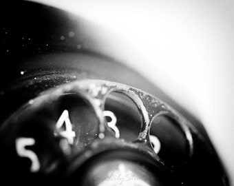 Call Me : surreal photo black and white macro photography antique telephone monochrome winter home decor 8x10 11x14 16x20 20x24 24x30