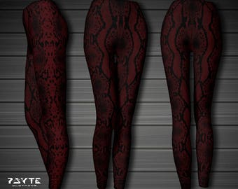 Snake skin Leggings, Womens leggings, Festival Leggings, Red leggings, Goth Clothing, Yoga pants, Yoga leggings,Dark psy, hooping, cosplay