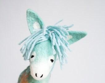 Felted toy - Dennis - Marionette. Felt Donkey birthday baby shower gift nursery decor Felt Animals Puppet plush animal stuffed toy. mint