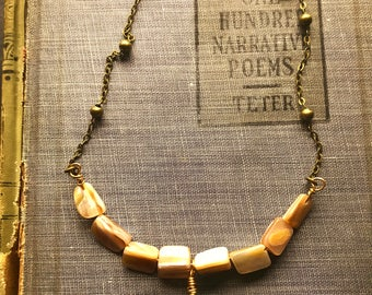 Turquoise and Mother of Pearl Pearl Necklace on Antiqued Brass