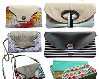 The Clutch Bundle - PDF Sewing Pattern - Instant download, clutch, foldover clutch, handbag, bag, small bag,