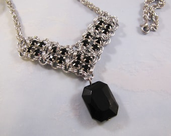 Patchwork Point Rhinestone Necklace Kit - Silver & Jet Black