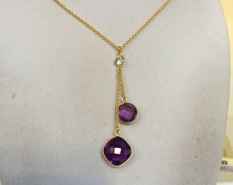 Two Amethyst Gemstones and a Crystal Gold Chain Necklace