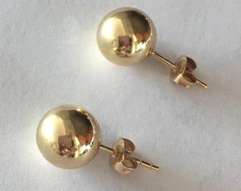 14k gold earrings Gold 10mm studs