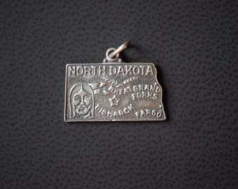 North Dakota State Charm - Sterling Silver 925 - Vintage - FREE SHIPPING within USA