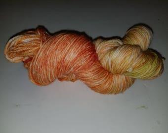 "Riley, a hand-dyed superwash merino wool/nylon blend sport weight yarn. 274yds/100gms/hank.  6sts=1"" on #3-5 needles"